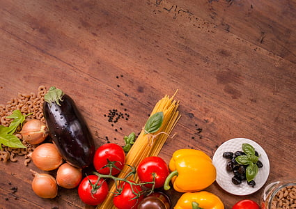 eggplant and tomatoes