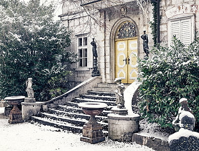 concrete stairs covered with snow