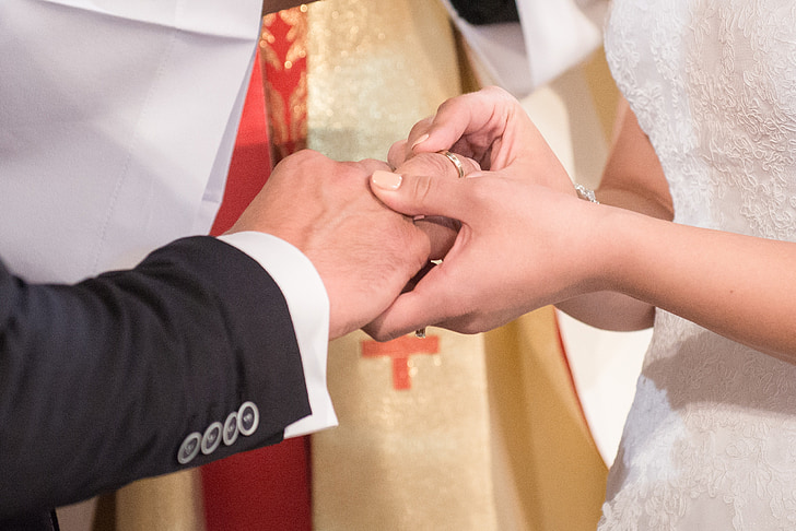 wedding, wedding rings, oath, young couple, bride, people
