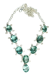 photo of green gemstone encrusted silver-colored link necklace