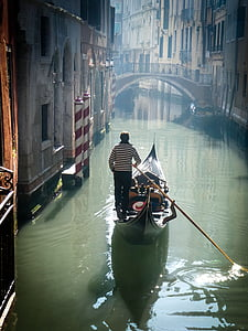 man on gondola boat
