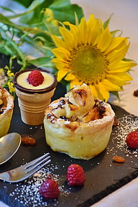 sunflower and rasberry on plate