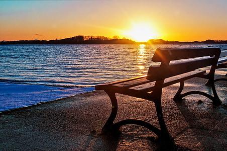 bench near ocean