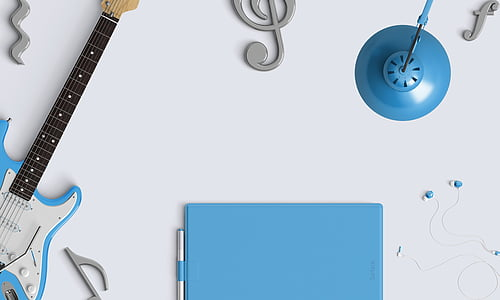 blue and white stratocaster electric guitar and music note wall decors