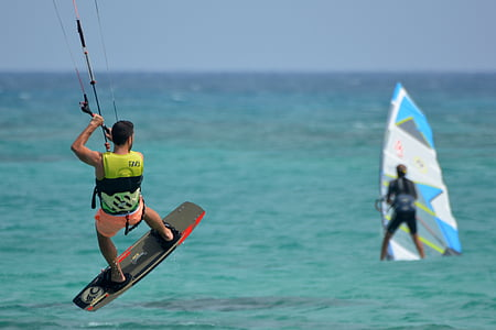 man doing wind surfing