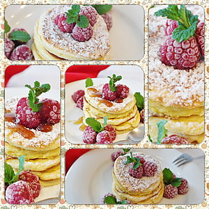 pancake with raspberries collage