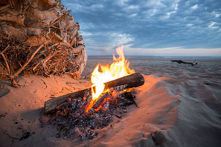 bonfire near sea at golden hour