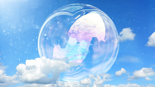 bubble on sky reflecting clouds