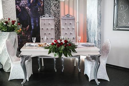 rectangular white dining set