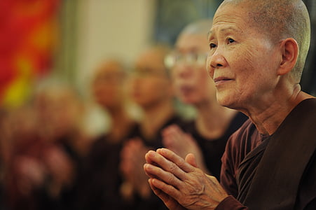 selective photo of monk wearing brown tops