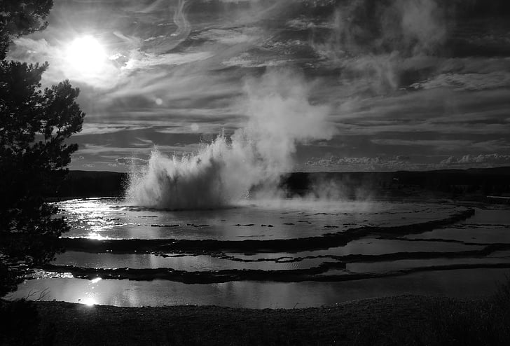 grayscale photo of water