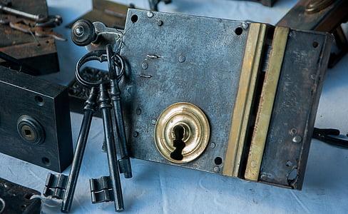 black skeleton keys beside padlock