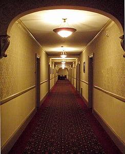 red hallway runner near door