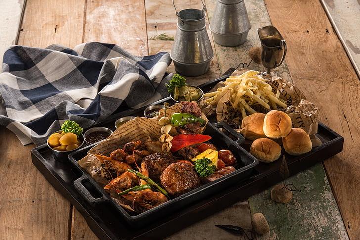 heavy meal dish on tray