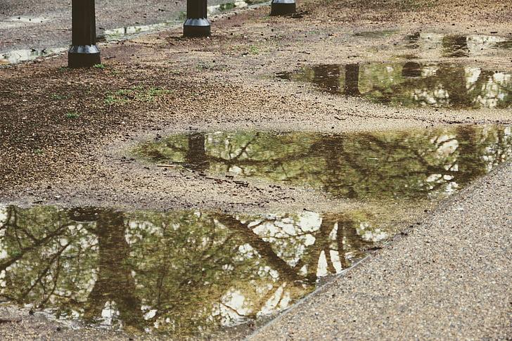 rain water on gray soil