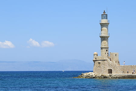 lighthouse on body of water
