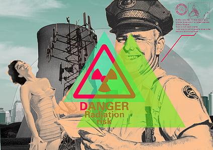 woman wearing strapless dress Danger Radiation Risk illustration