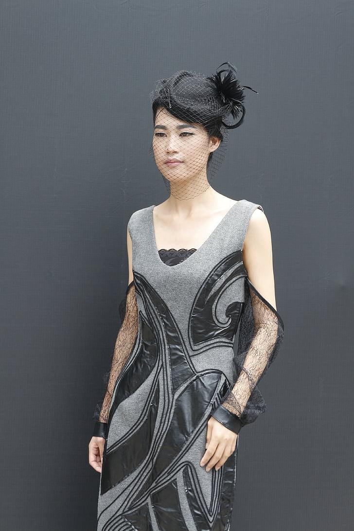 women's gray and black sleeveless dress