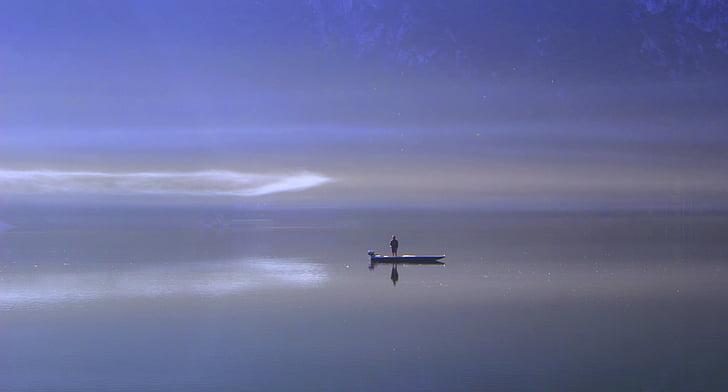 lake, water, fog, ship, mirroring, boot