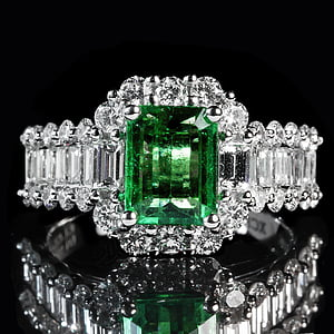 clear crystal green gemstone emerald cut ring