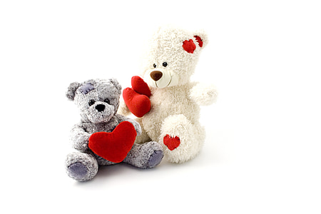two white and grey teddy bears on white surface