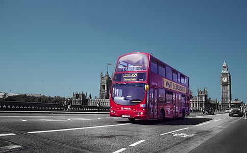 red double-decker bus on road
