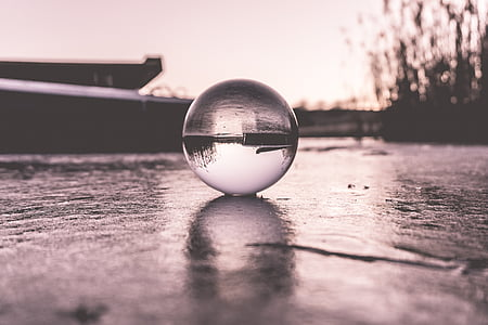 grayscale photography of water forming round