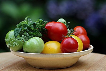 red and green tomatoes in white plate