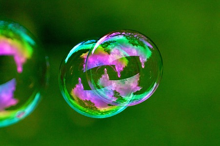 purple and green bubbles