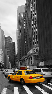 selective color photography of yellow Ford Crown Victoria sedan