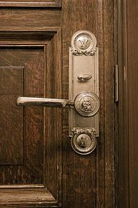 gray metal door knob