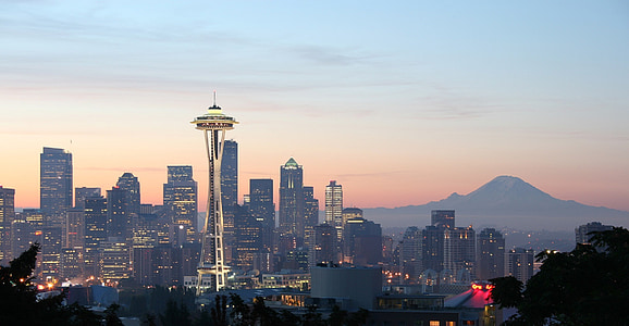 view of space needle tower during sunset