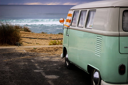 teal and white Volkswagen T1 van