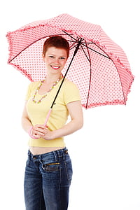 woman holding pink umbrella