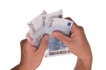 person holding 20 and 10 Euro banknotes