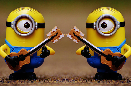 two Despicable Me Minions plastic toys