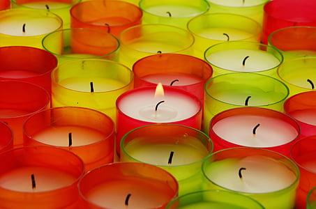 assorted-color votive candles