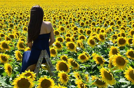 woman wearing black strapless top standing on sunflower field during daytime