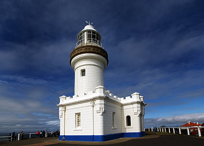 white and blue painted lighthouse
