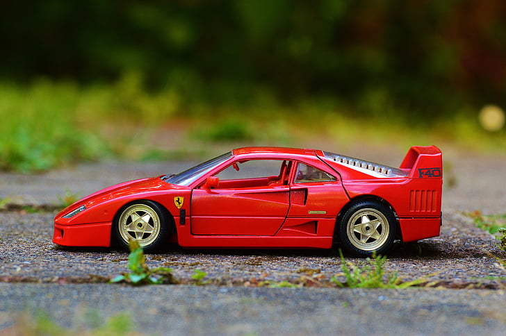 red Ferrari die-cast model