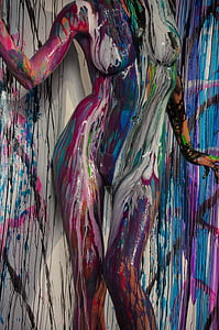body painting, studio, models, multi Colored, abstract, pattern