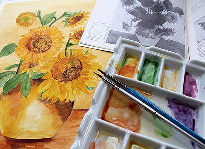 yellow sunflower painting