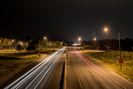 timelapse of road and cars