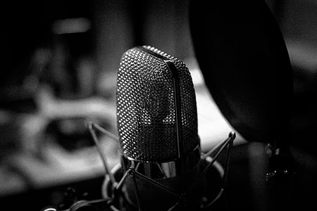 grayscale photography of condenser microphone