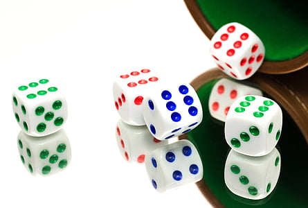 five assorted-color dices
