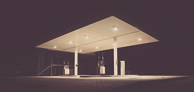 fuel station at night