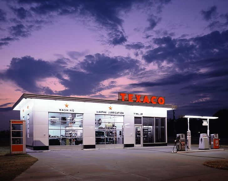 TEXACO gas station under dark sky