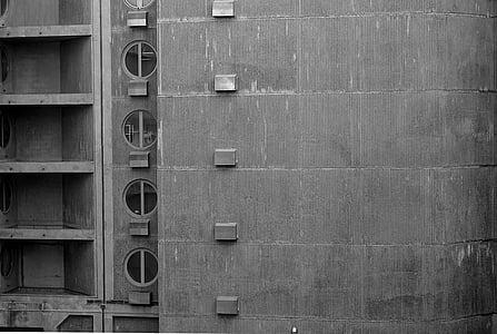 building, concrete, architecture, facade, black and white, city