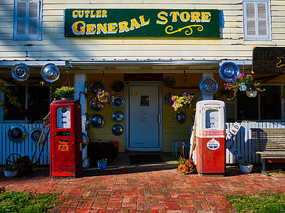 gas pump machines outside Cutler General Store