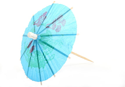 blue umbrella toothpick with green floral graphic